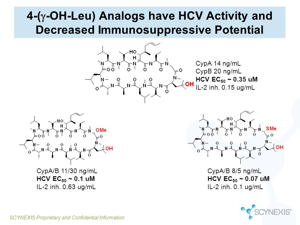 4-(g-OH-Leu) Analogs have HCV Activity and Decreased Immunosuppressive Potential