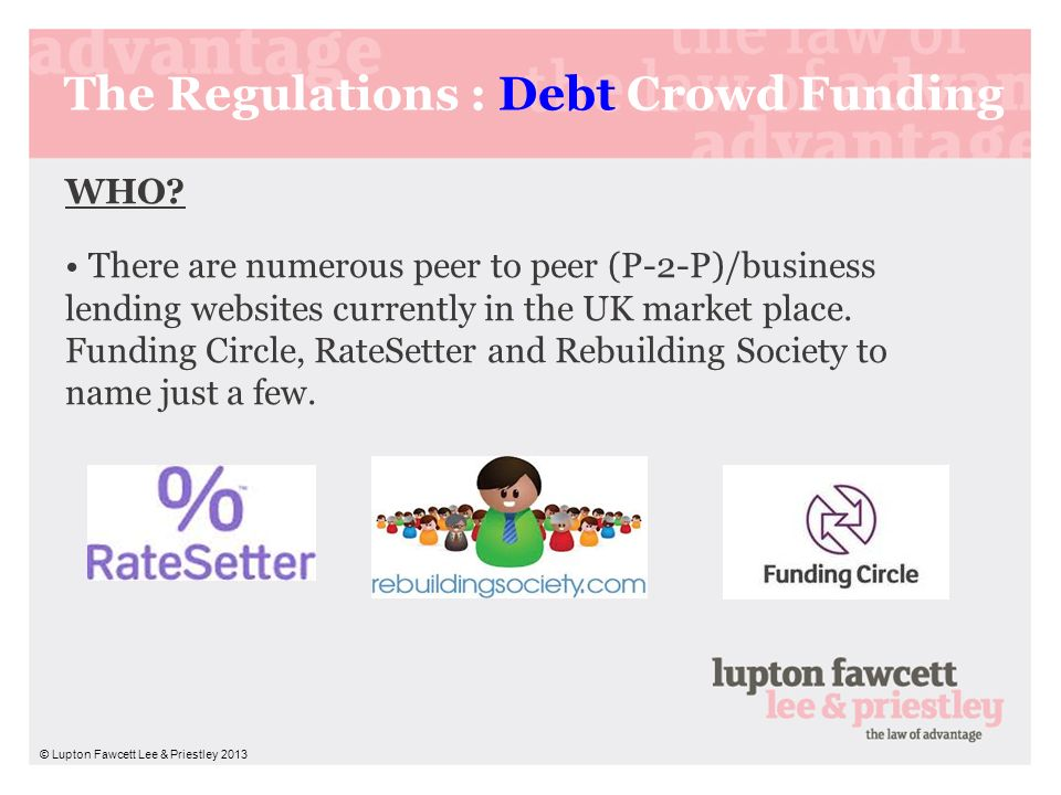 The Regulations : Debt Crowd Funding