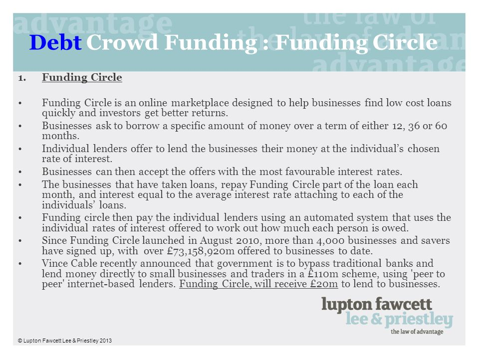 Debt Crowd Funding : Funding Circle