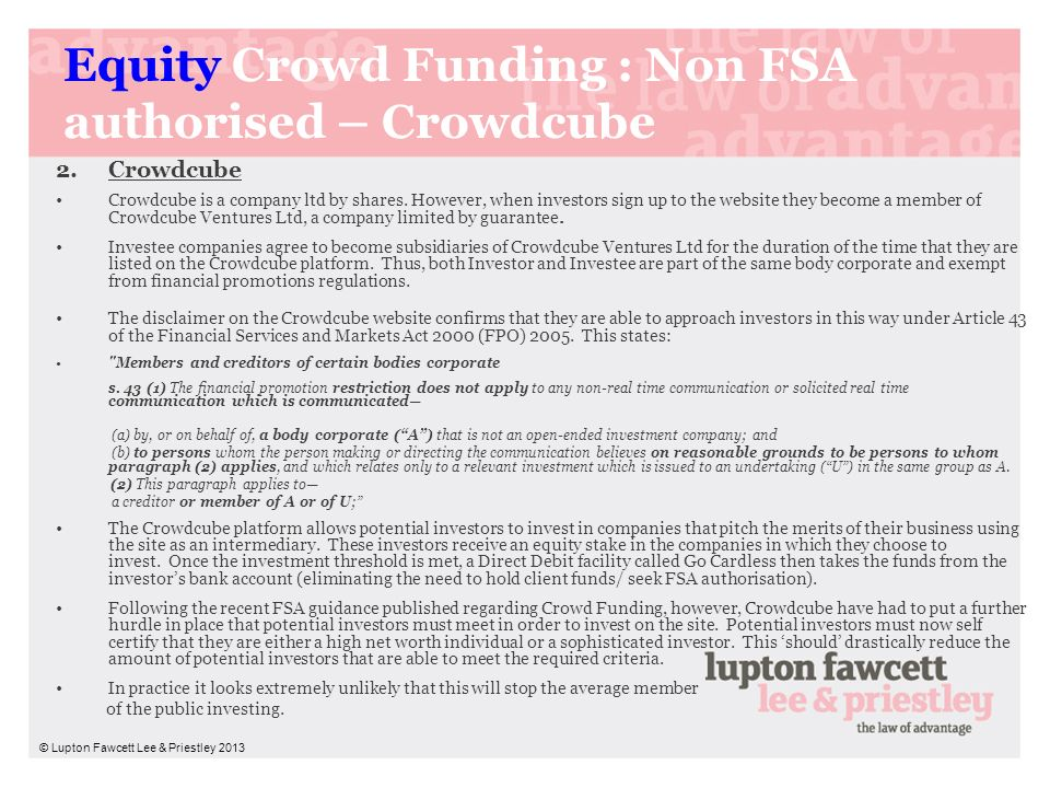 Equity Crowd Funding : Non FSA authorised – Crowdcube