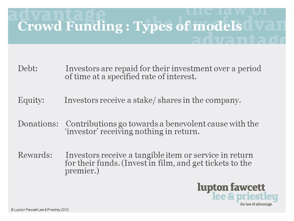 Crowd Funding : Types of models