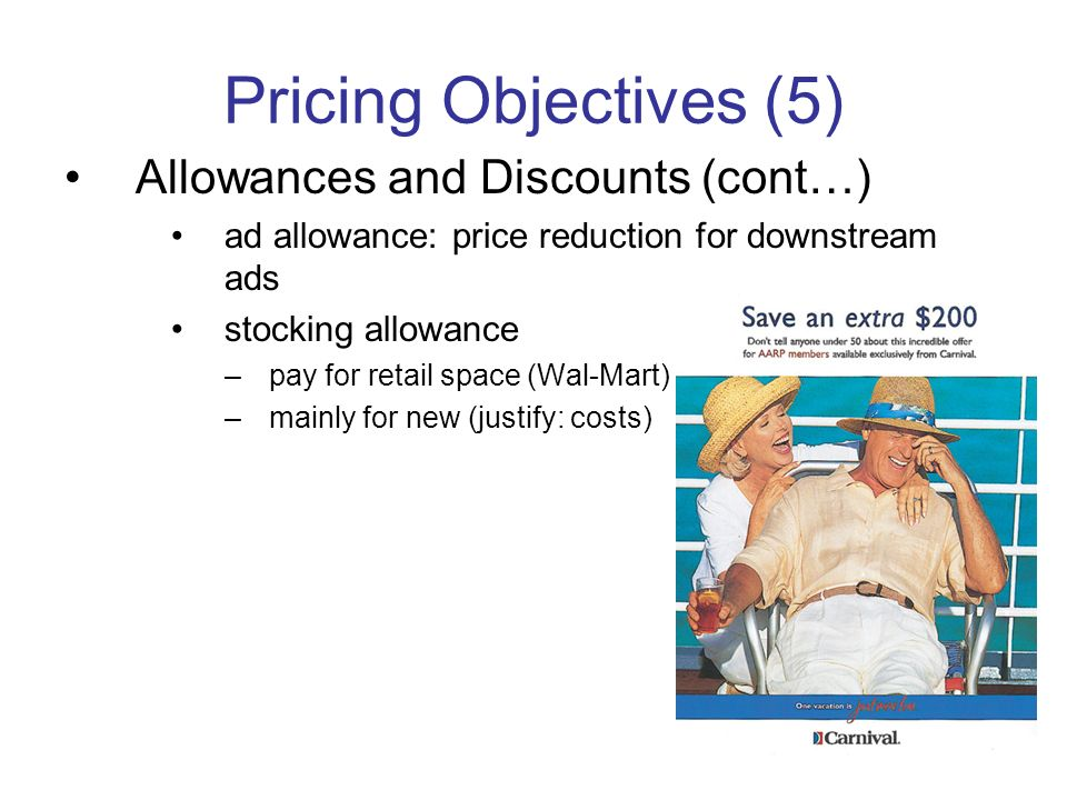 Pricing Objectives (5) Allowances and Discounts (cont…)