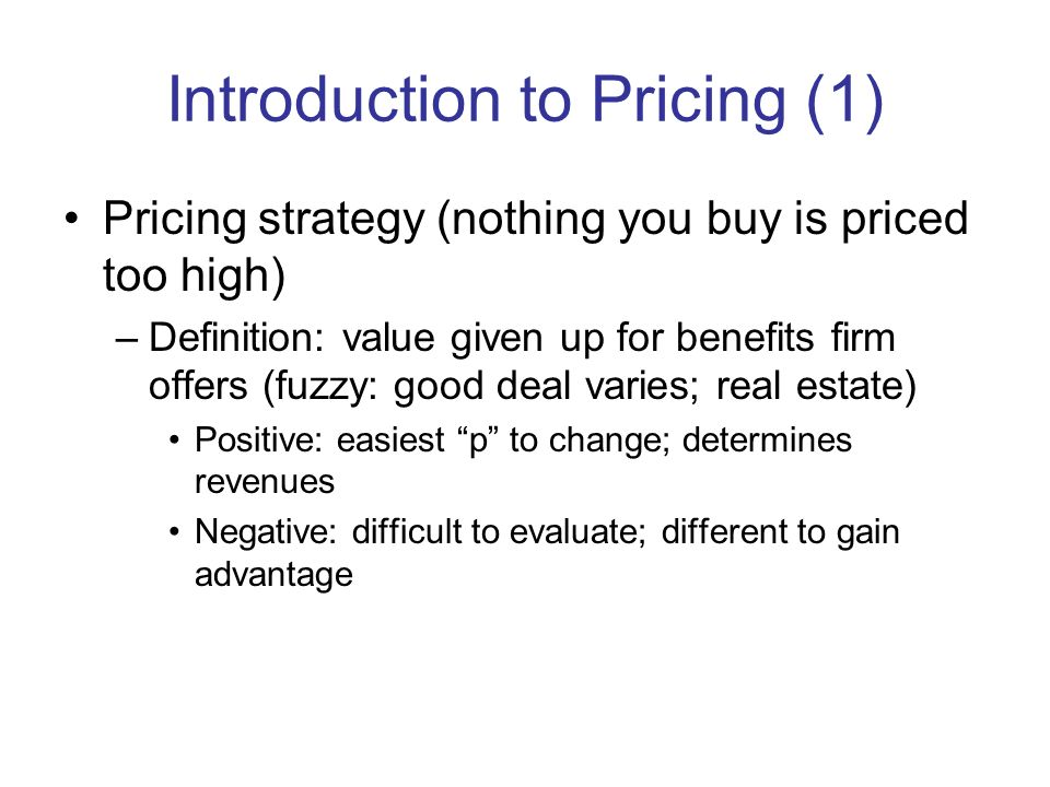 Introduction to Pricing (1)