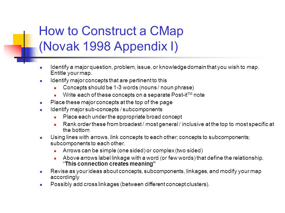 How to Construct a CMap (Novak 1998 Appendix I)