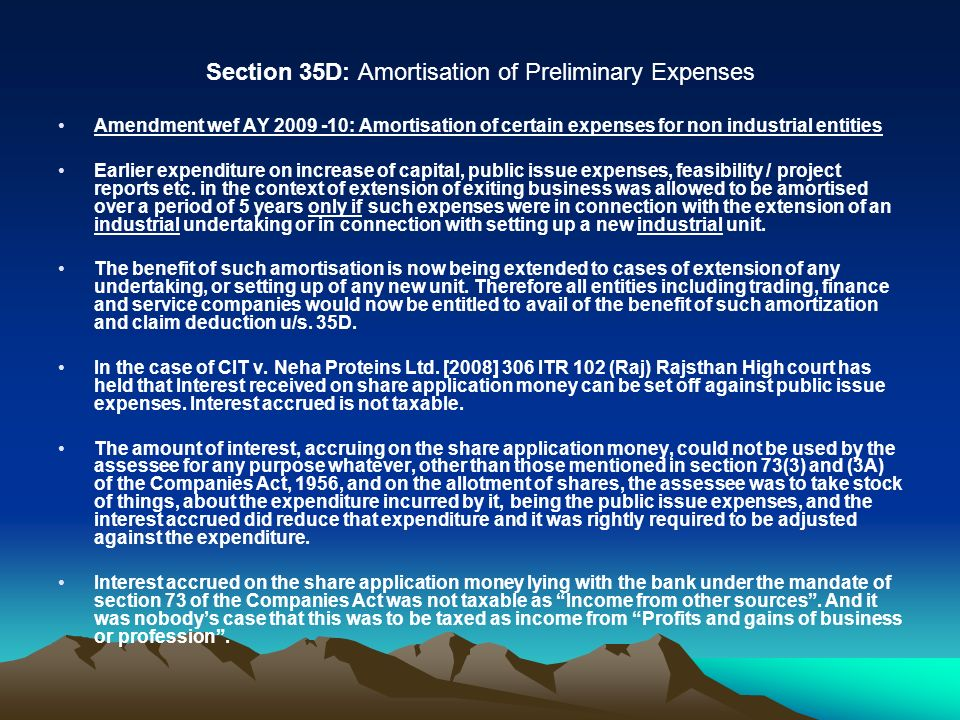 Section 35D: Amortisation of Preliminary Expenses