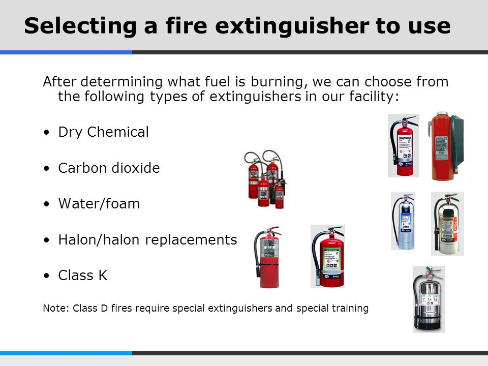 Selecting a fire extinguisher to use