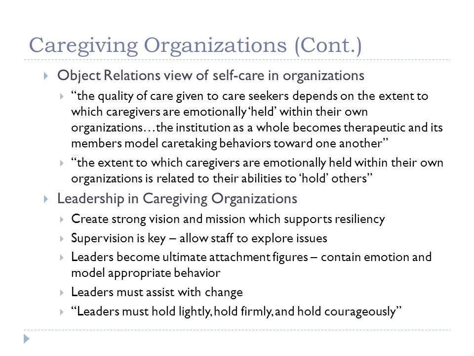 Caregiving Organizations (Cont.)
