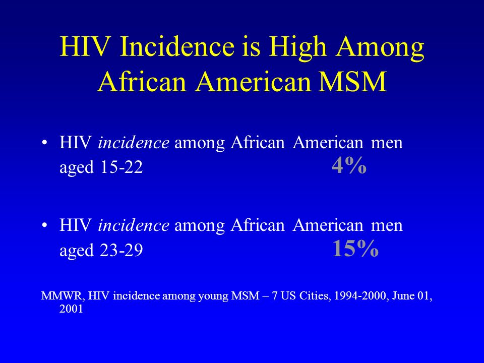 HIV Incidence is High Among African American MSM