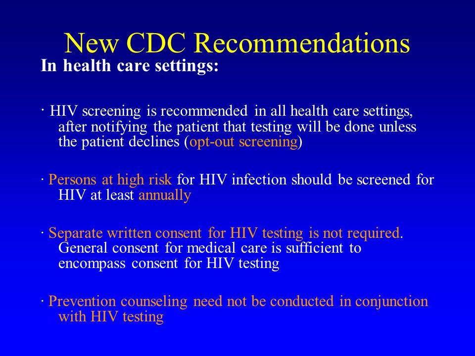 New CDC Recommendations