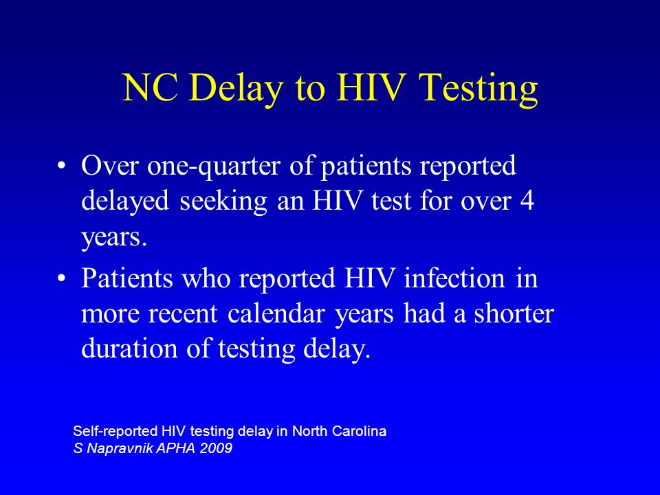 NC Delay to HIV Testing Over one-quarter of patients reported delayed seeking an HIV test for over 4 years.