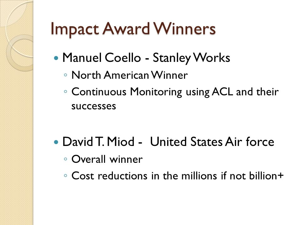 Impact Award Winners Manuel Coello - Stanley Works