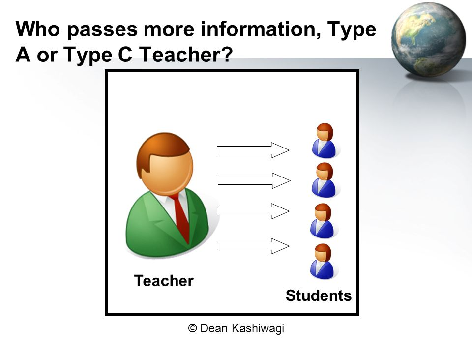 Who passes more information, Type A or Type C Teacher