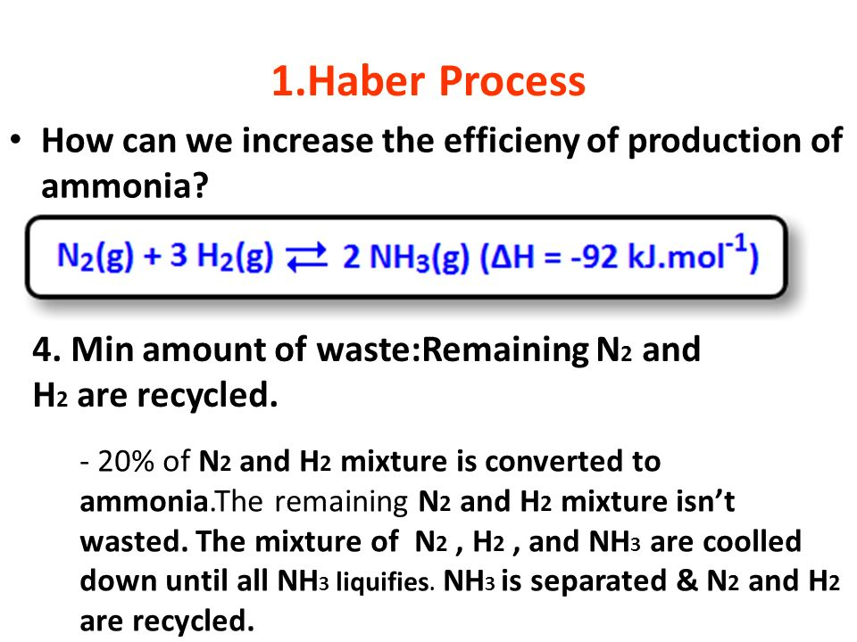 1.Haber Process How can we increase the efficieny of production of ammonia 4. Min amount of waste:Remaining N2 and H2 are recycled.
