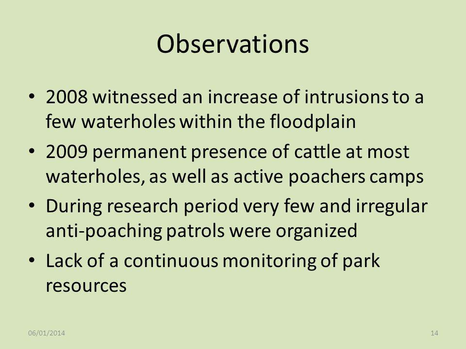Observations 2008 witnessed an increase of intrusions to a few waterholes within the floodplain.