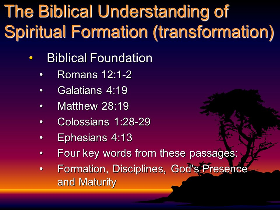 The Biblical Understanding of Spiritual Formation (transformation)