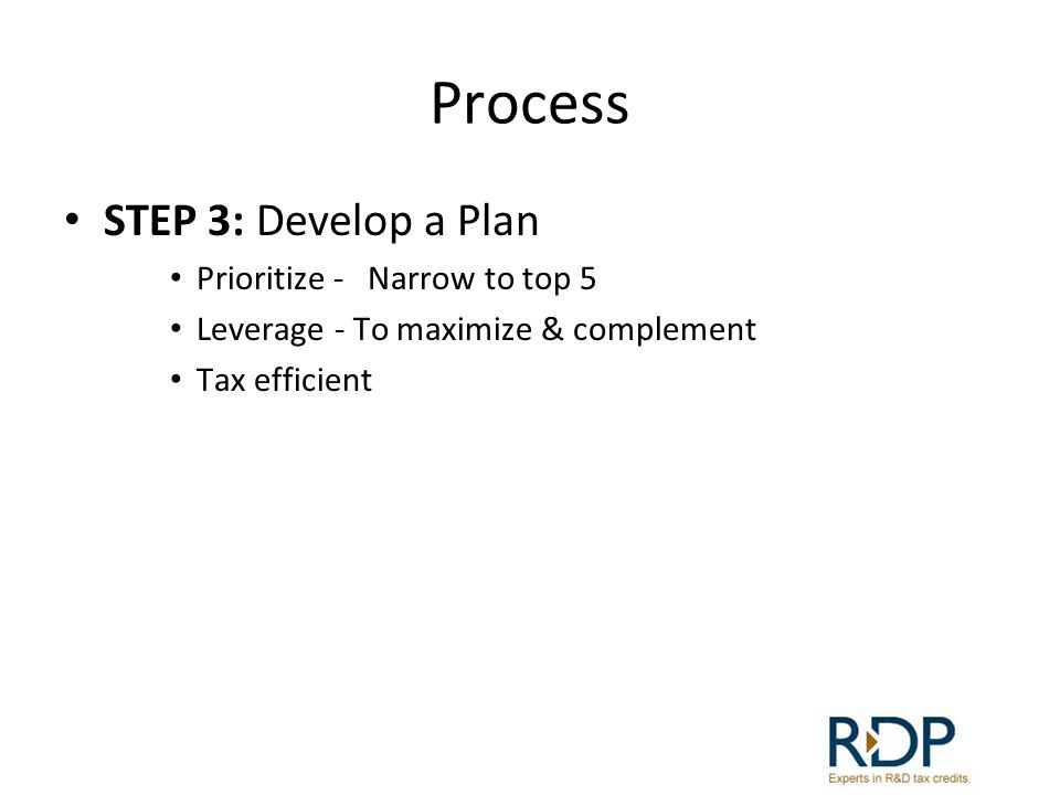Process STEP 3: Develop a Plan Prioritize - Narrow to top 5