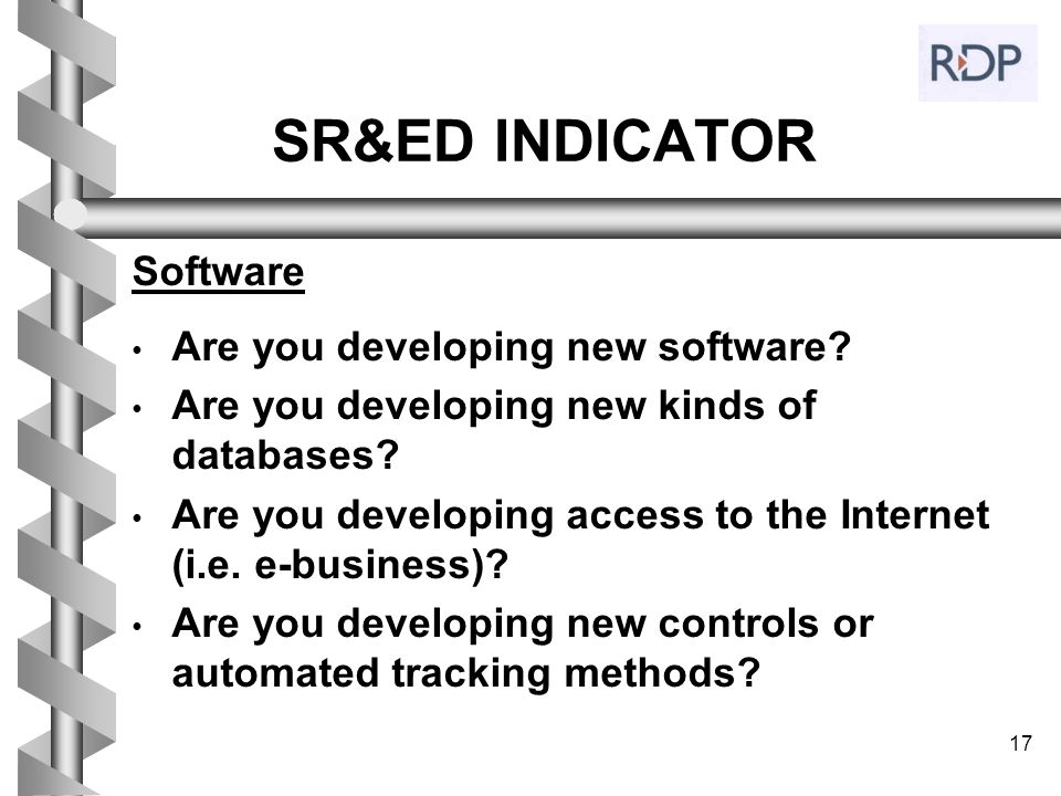 SR&ED INDICATOR Software Are you developing new software