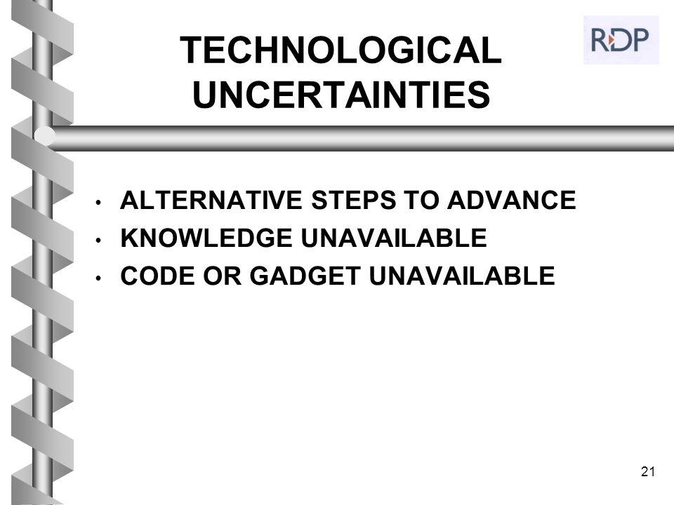 TECHNOLOGICAL UNCERTAINTIES