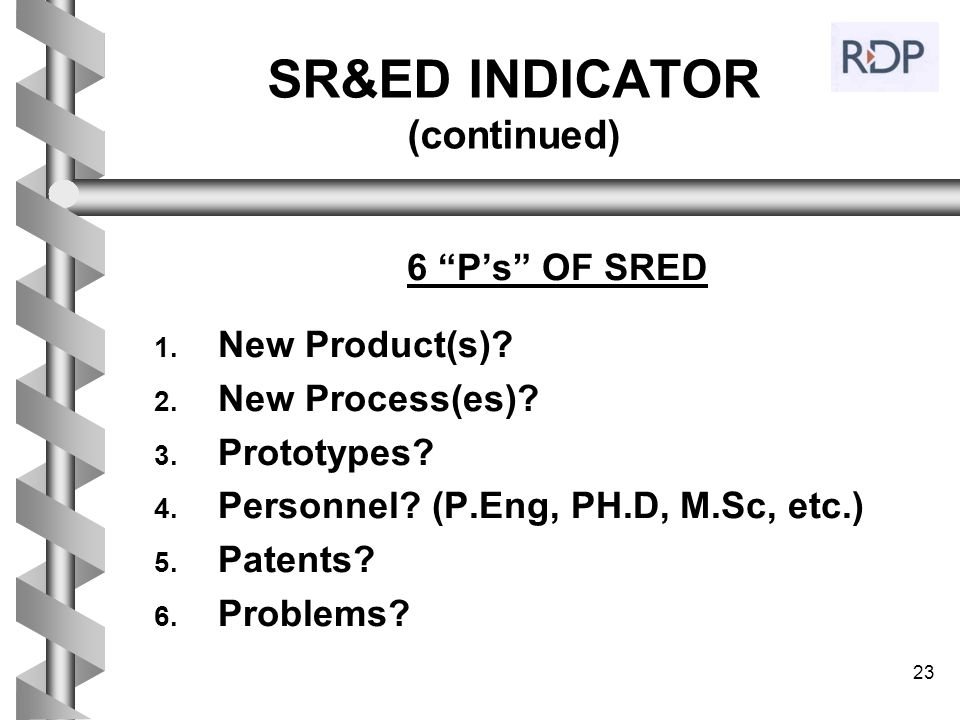 SR&ED INDICATOR (continued)