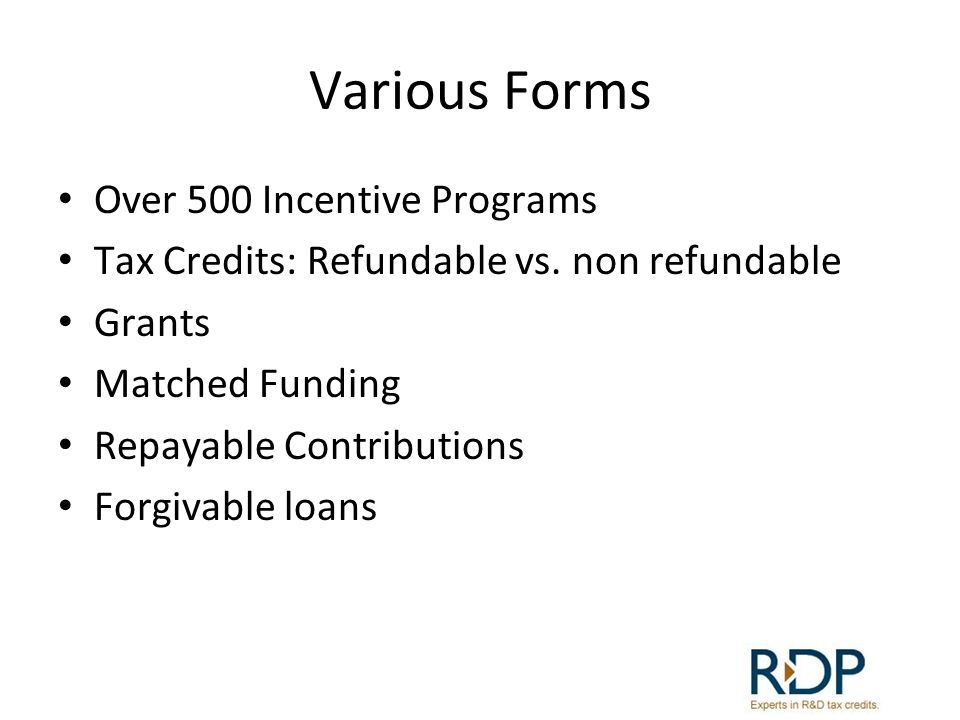 Various Forms Over 500 Incentive Programs