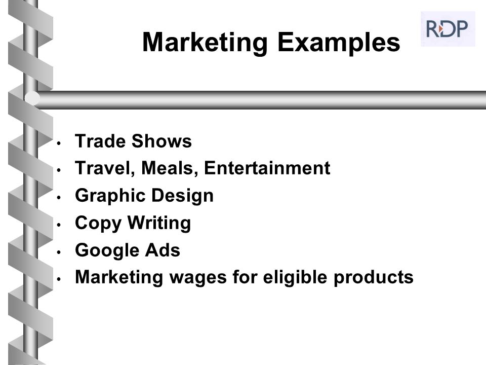 Marketing Examples Trade Shows Travel, Meals, Entertainment