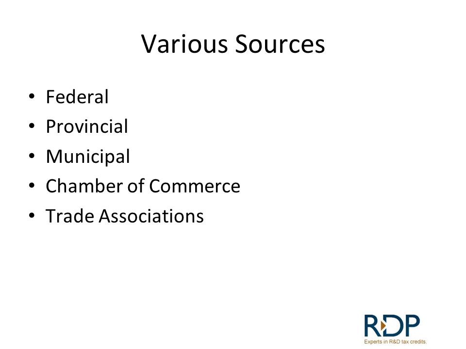 Various Sources Federal Provincial Municipal Chamber of Commerce