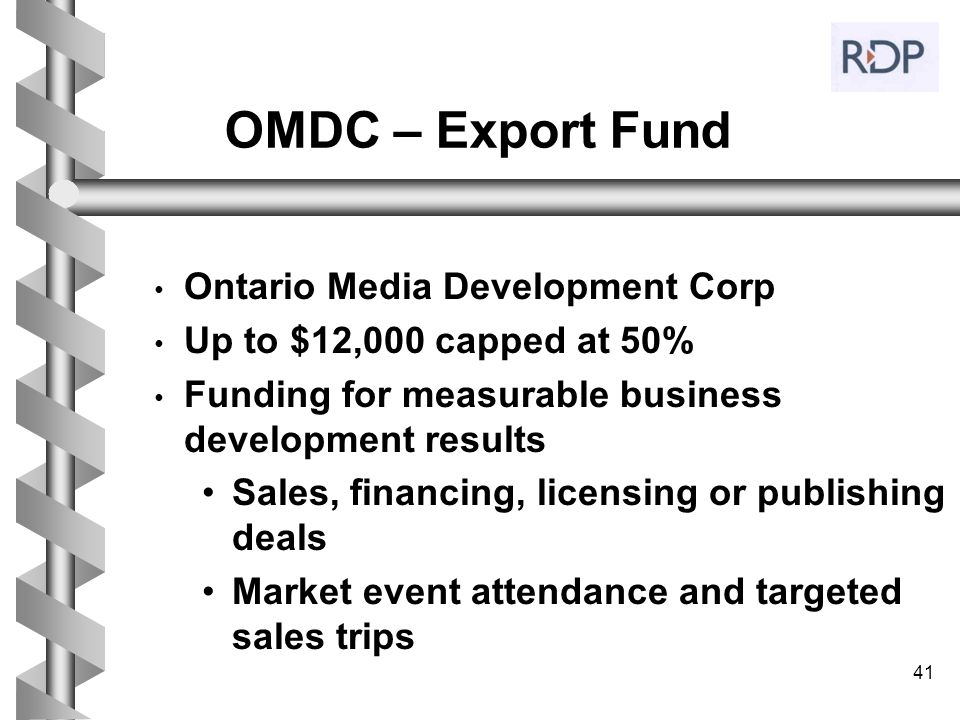 OMDC – Export Fund Ontario Media Development Corp