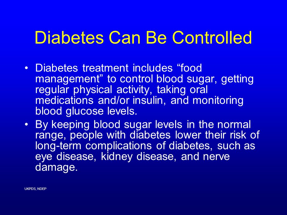 Diabetes Can Be Controlled