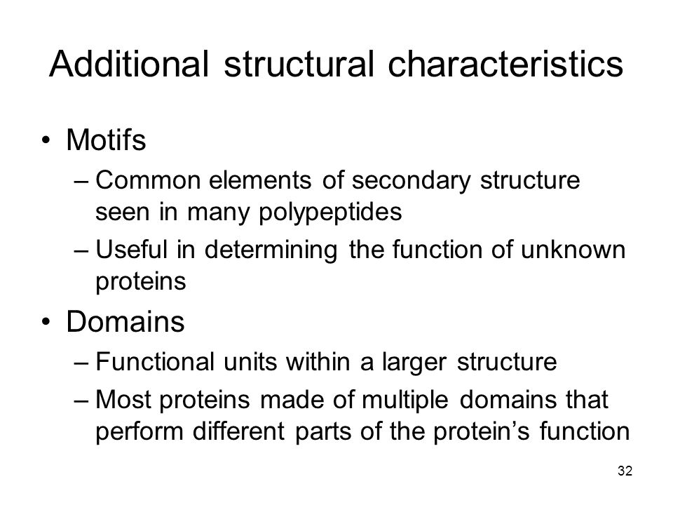 Additional structural characteristics