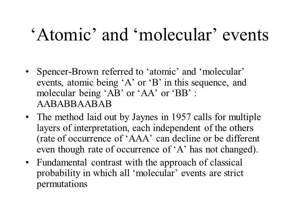 'Atomic' and 'molecular' events