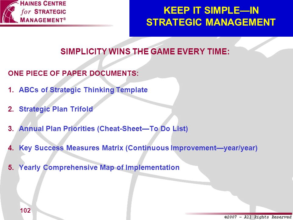 KEEP IT SIMPLE—IN STRATEGIC MANAGEMENT