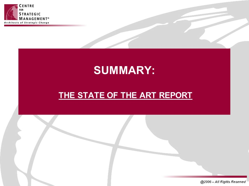 SUMMARY: THE STATE OF THE ART REPORT