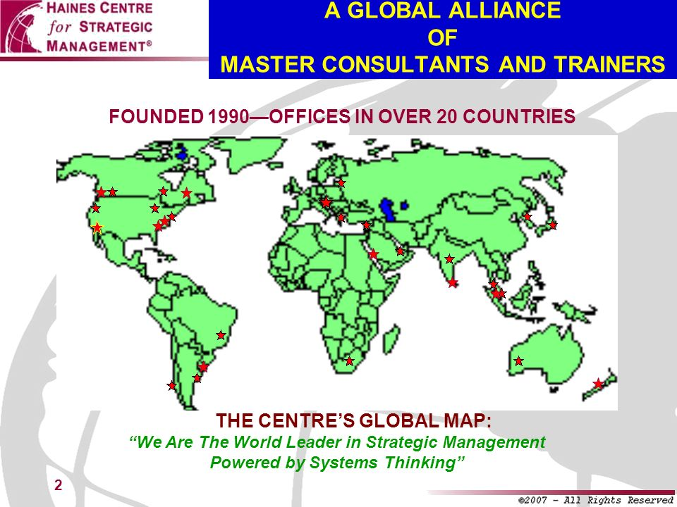 A GLOBAL ALLIANCE OF MASTER CONSULTANTS AND TRAINERS