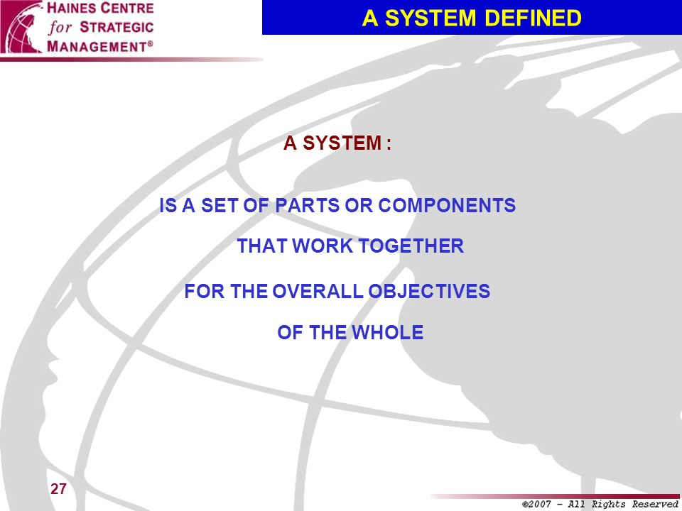 A SYSTEM DEFINED A SYSTEM :