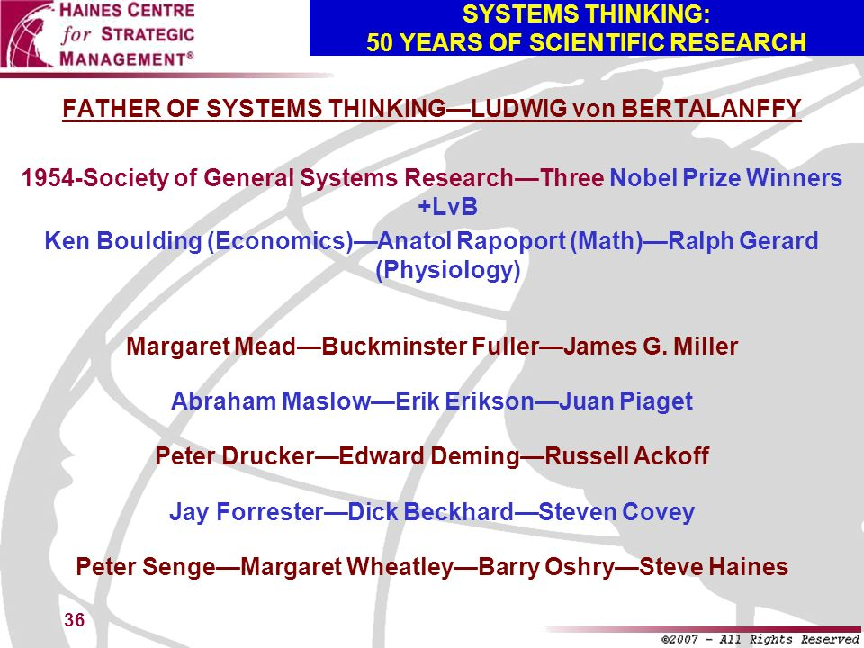 SYSTEMS THINKING: 50 YEARS OF SCIENTIFIC RESEARCH