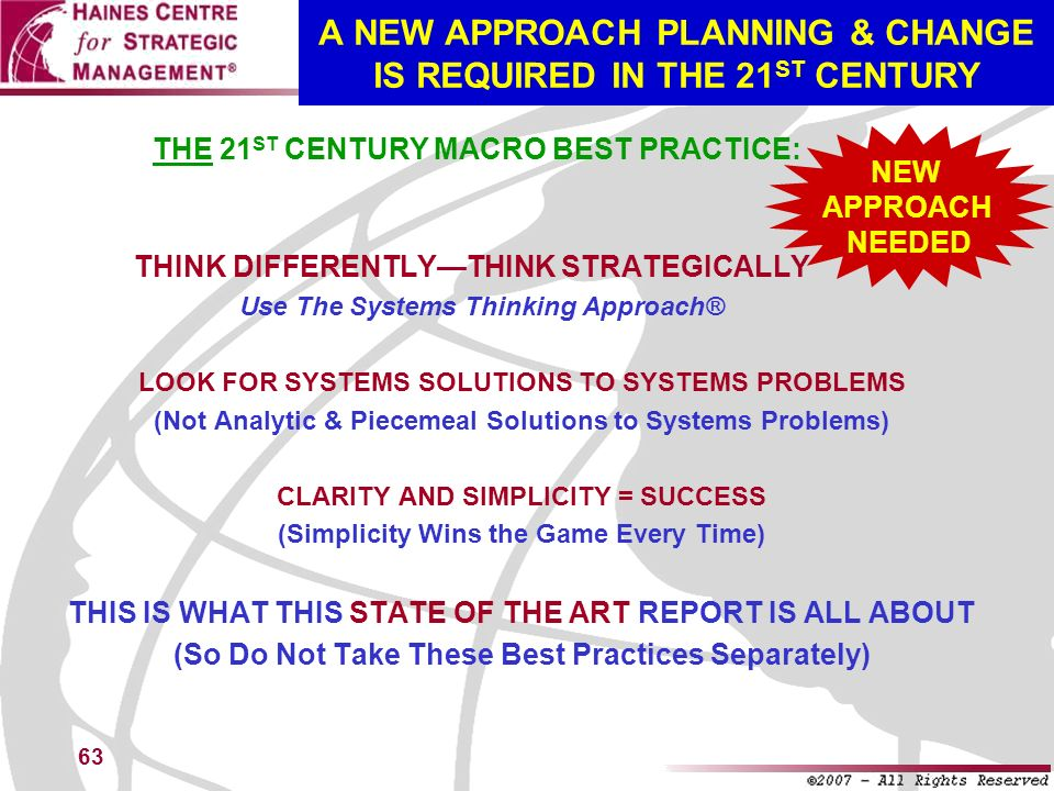 A NEW APPROACH PLANNING & CHANGE IS REQUIRED IN THE 21ST CENTURY