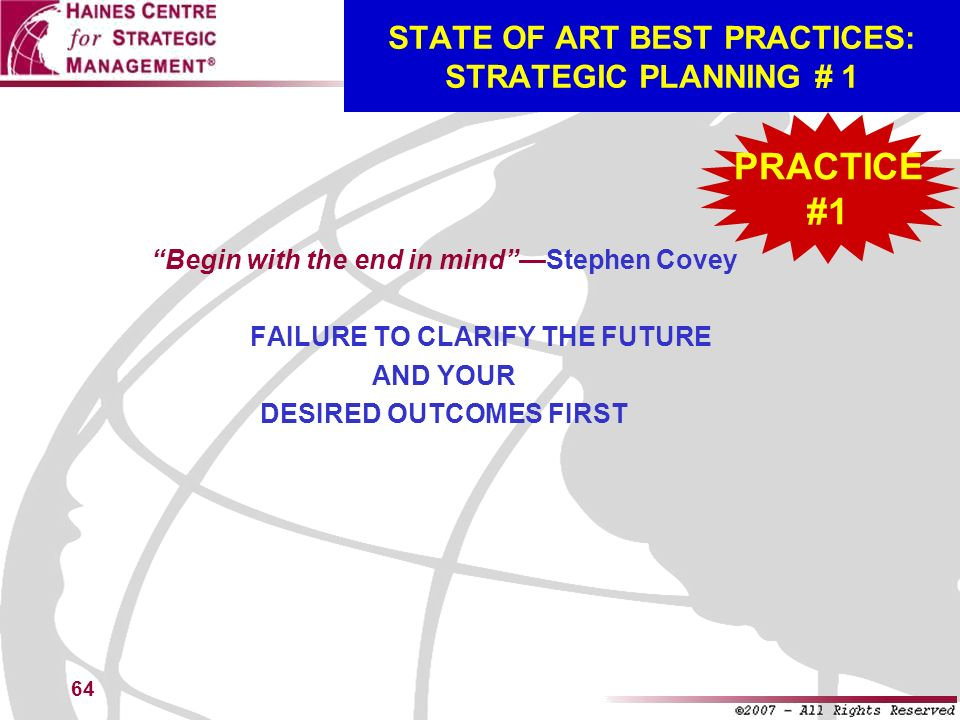 STATE OF ART BEST PRACTICES: STRATEGIC PLANNING # 1