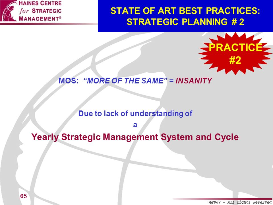STATE OF ART BEST PRACTICES: STRATEGIC PLANNING # 2