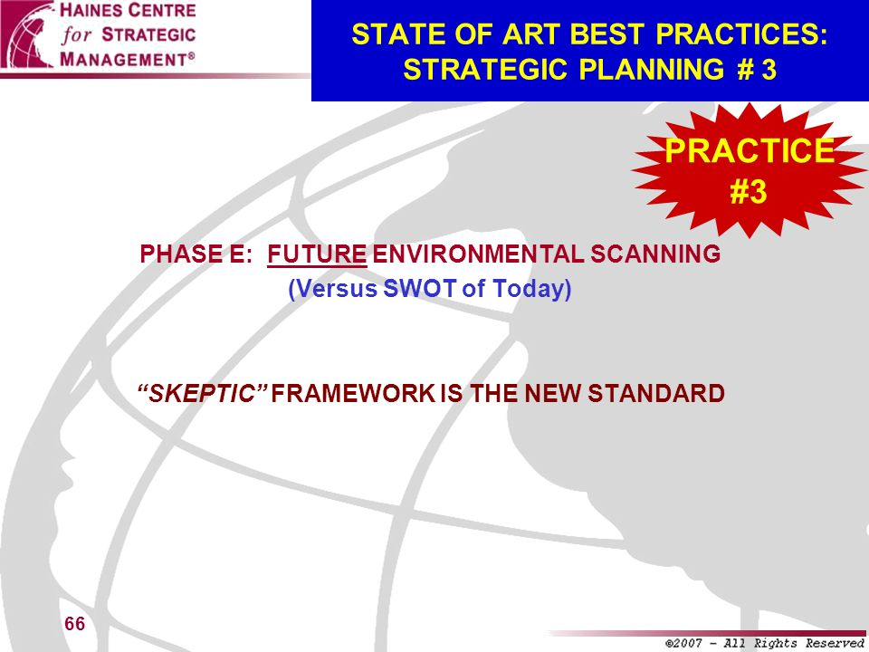 STATE OF ART BEST PRACTICES: STRATEGIC PLANNING # 3