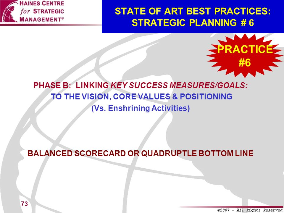 STATE OF ART BEST PRACTICES: STRATEGIC PLANNING # 6