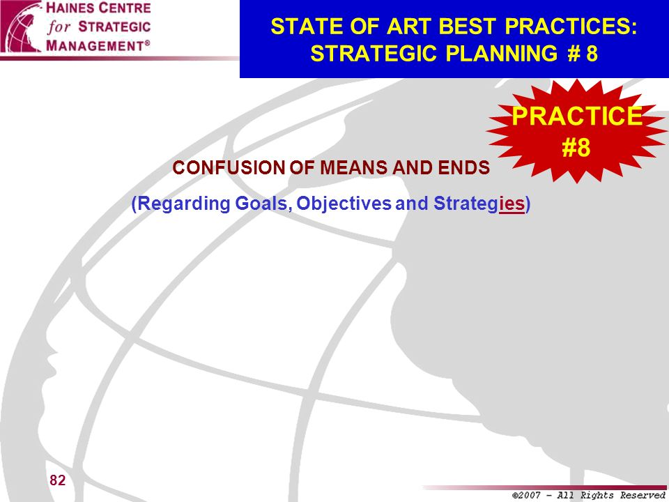 STATE OF ART BEST PRACTICES: STRATEGIC PLANNING # 8