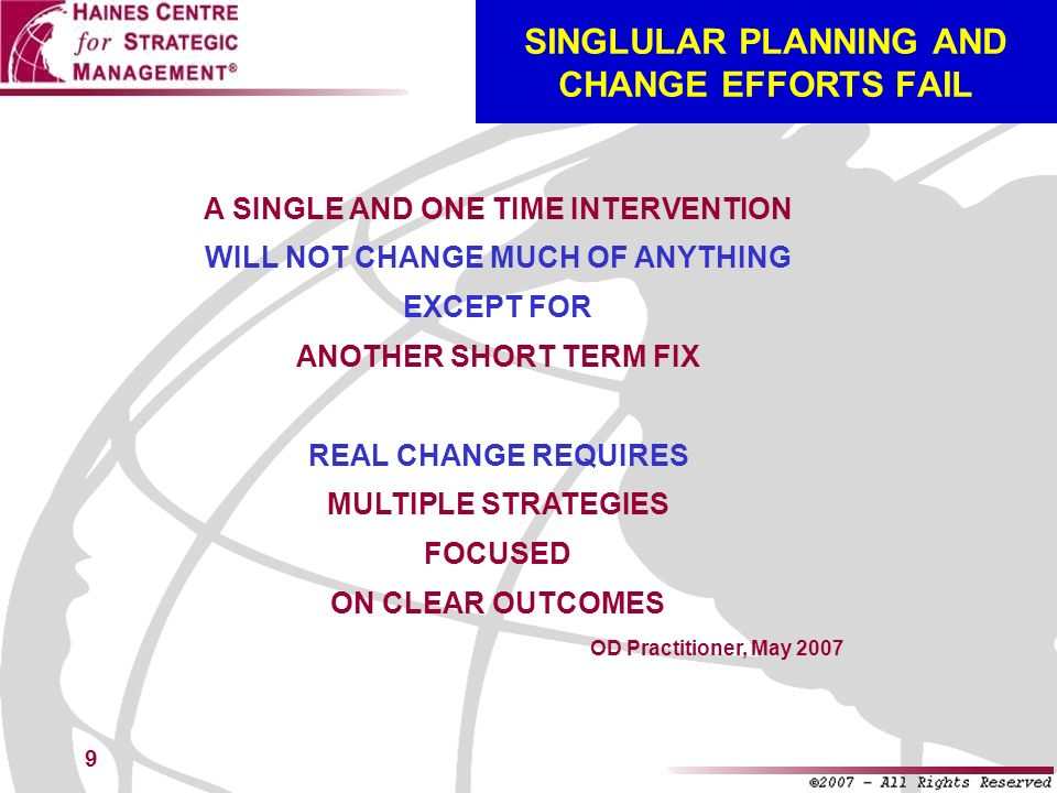 SINGLULAR PLANNING AND CHANGE EFFORTS FAIL