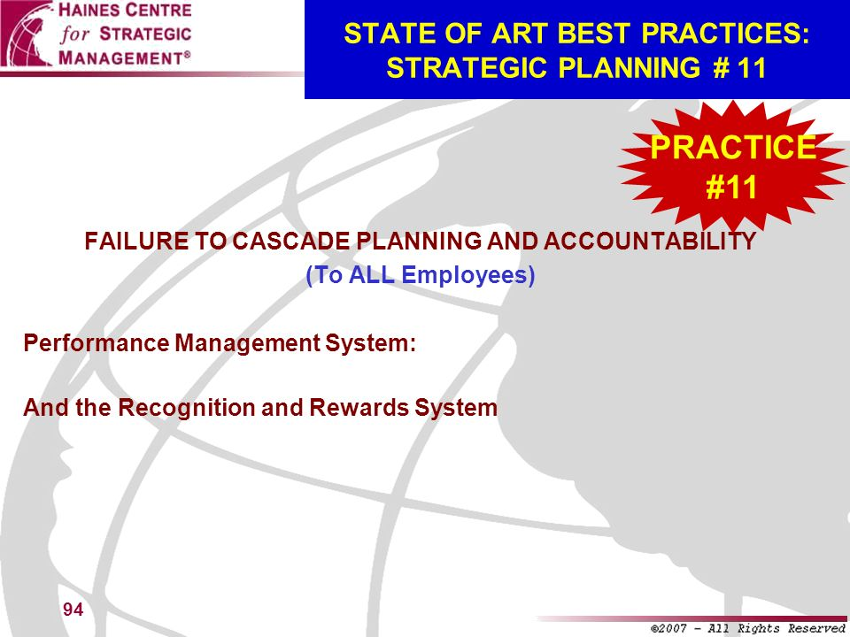 STATE OF ART BEST PRACTICES: STRATEGIC PLANNING # 11