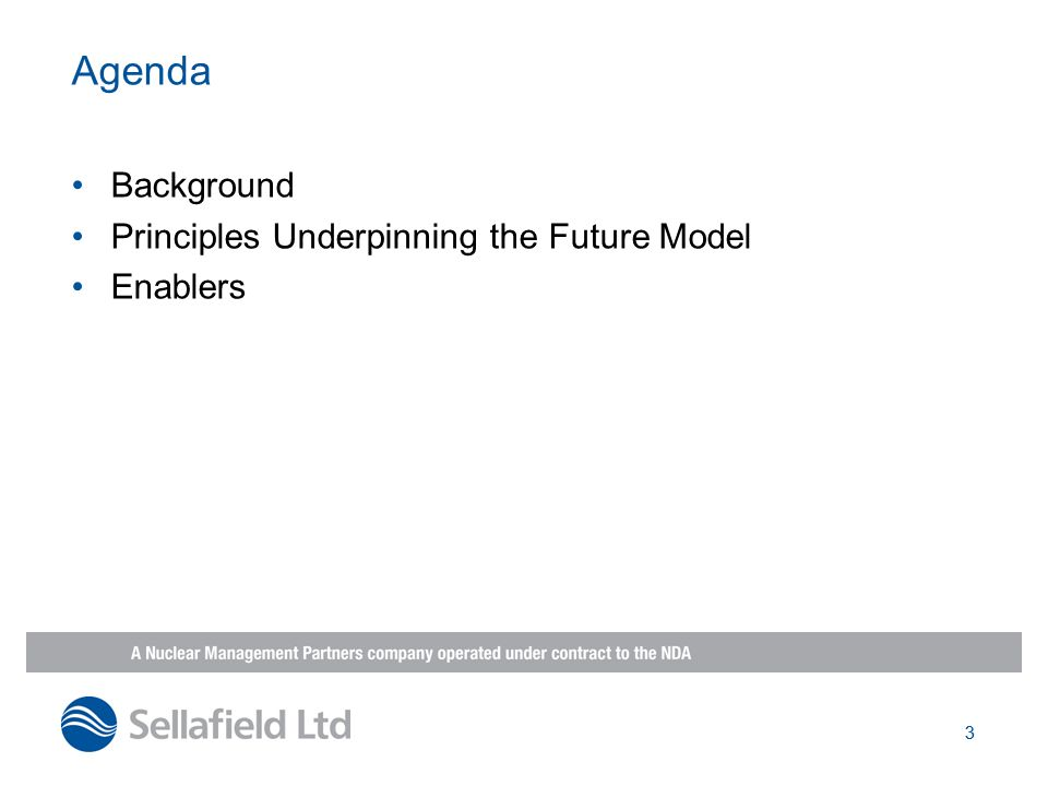 Agenda Background Principles Underpinning the Future Model Enablers 3
