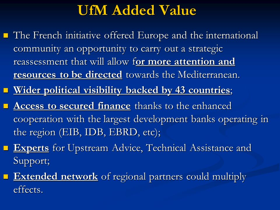 UfM Added Value