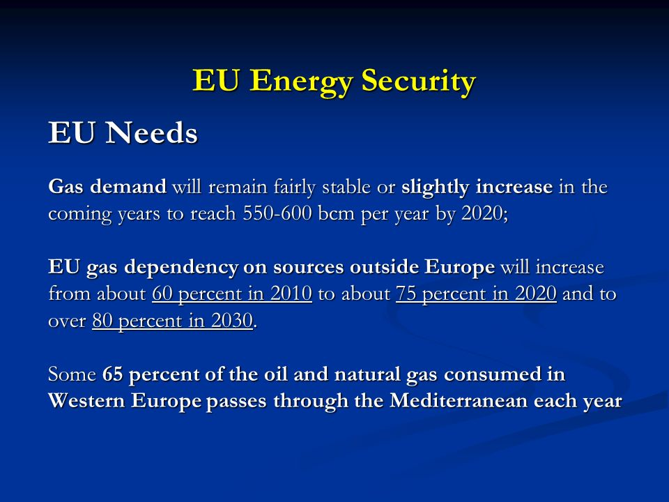 EU Energy Security EU Needs