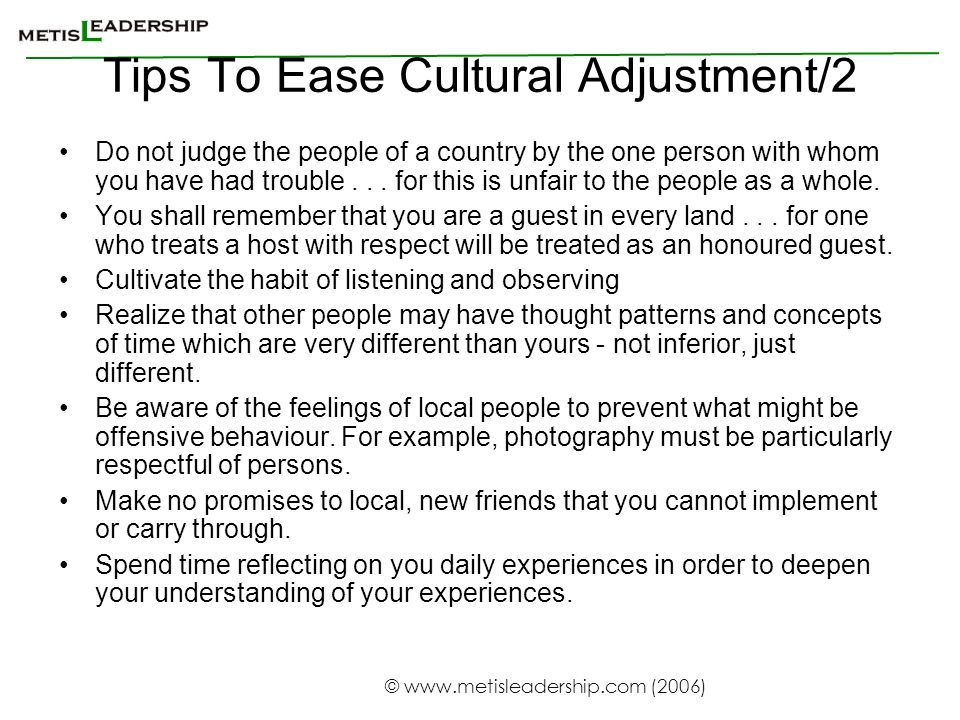 Tips To Ease Cultural Adjustment/2