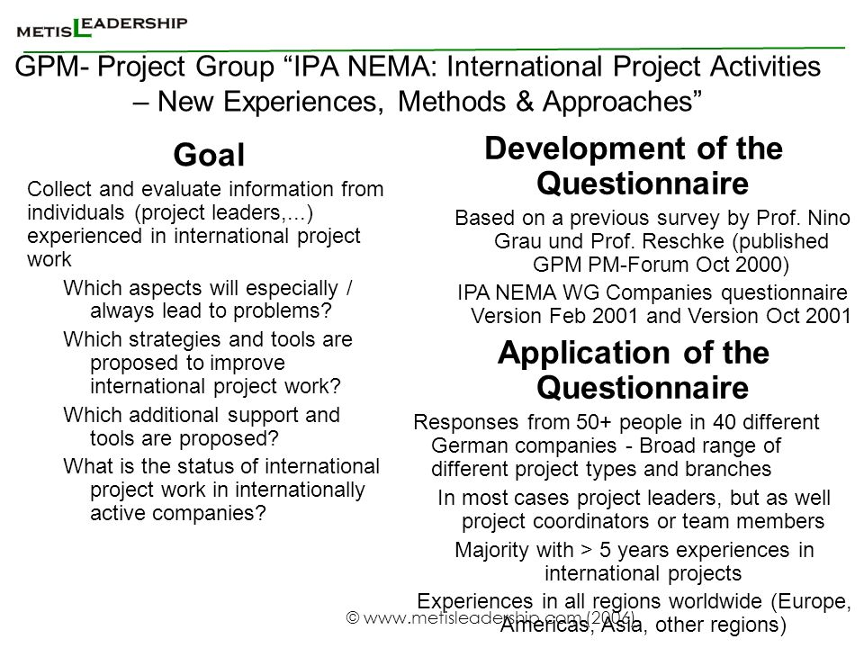 Development of the Questionnaire Application of the Questionnaire
