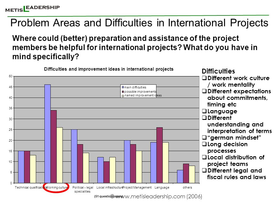 Problem Areas and Difficulties in International Projects