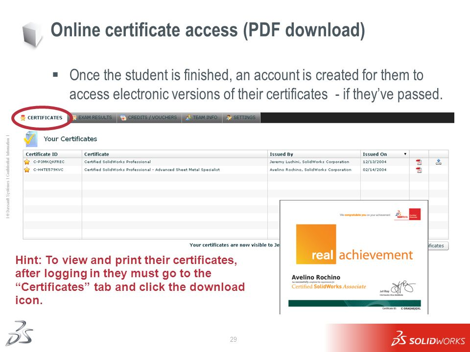Online certificate access (PDF download)